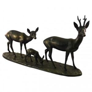 Metallskulptur Rehgruppe mit Kitz