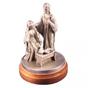 Heilige Familie / Maria und Josef an der Krippe (Zinn handgegossen)