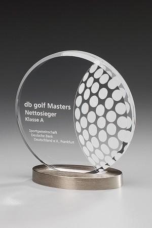Metal Round Golf Acryl Award 7438/Golf