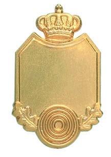 Königsabzeichen vergoldet mit Krone und Zielscheibe
