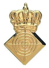 Königsabzeichen vergoldet mit Zielscheibe und Krone
