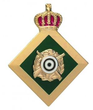 Königsabzeichen vergoldet mit Zielscheibe und gekreuzten Gewehren