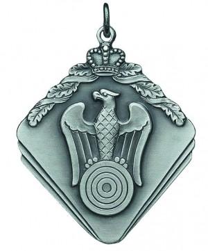 Medaille mit Adler, Zielscheibe und Krone