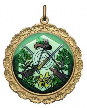 Medaille farbig bedruckt mit Schützenmotiv