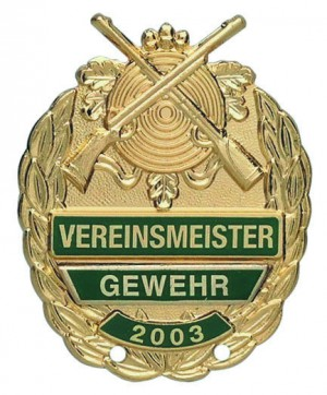 Vereinsmeisterabzeichen mit gekreuzten Gewehren und Sicherheitsnadel