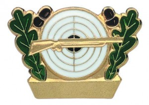 Schützenabzeichen vergoldet mit Gewehr, Eichenlaub und Zielscheibe