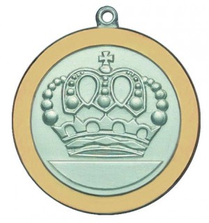 Versilberte Königinnenmedaille mit goldfarbig poliertem Rand