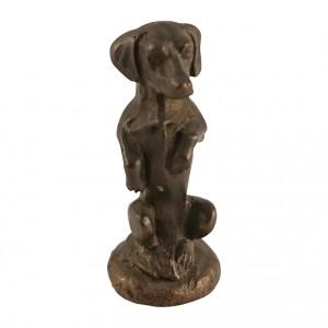 Bronzefigur Dackel aufrecht stehend
