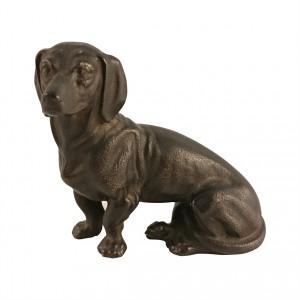 Bronzefigur Dackel sitzend