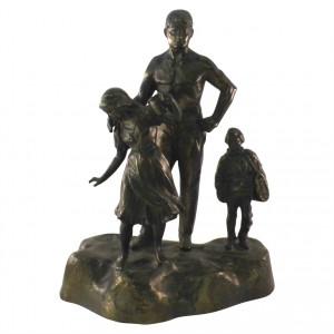 Metallskulptur Familie