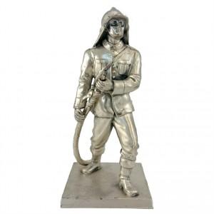 Metallfigur Feuerwehrmann versilbert